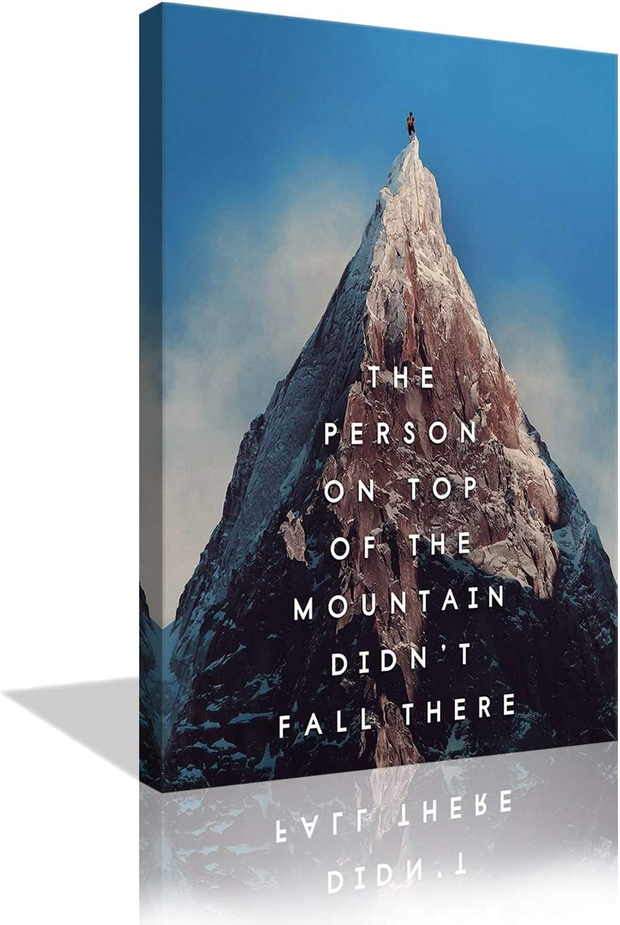 Success Inspirational Wall Art Snow Mountain Pictures Motivational Poster Entrepreneur Quotes Canvas Painting Prints Modern Inspiring Wall Decor for Office Living Room Gym Framed Ready to Hang