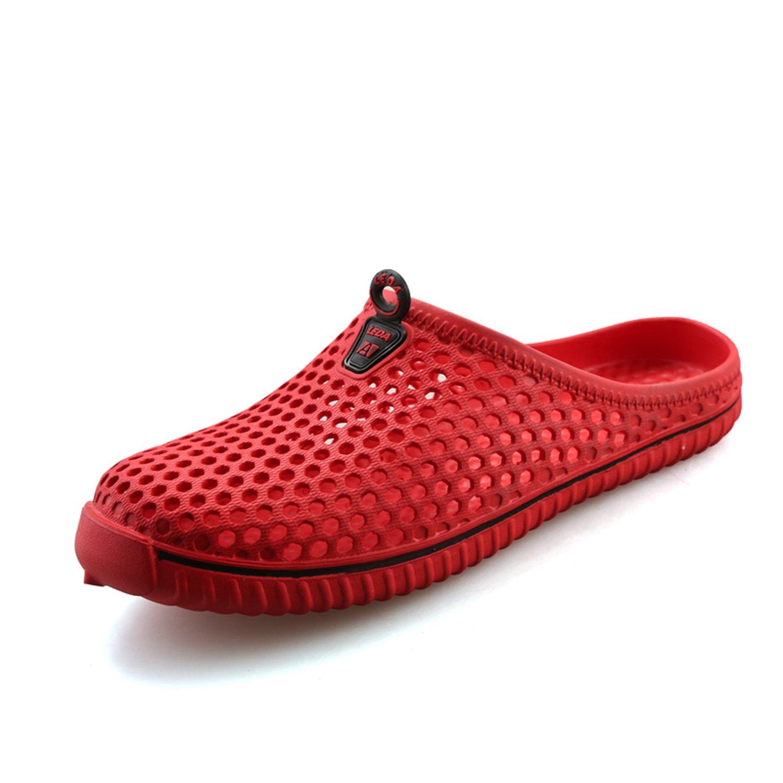 WAWEN Men Summer Breathable Sandals,Durable Slippers,Beach Footwear,Outdoor,Anti-Slip,Walking,Garden Clog Shoes Red 45 EU