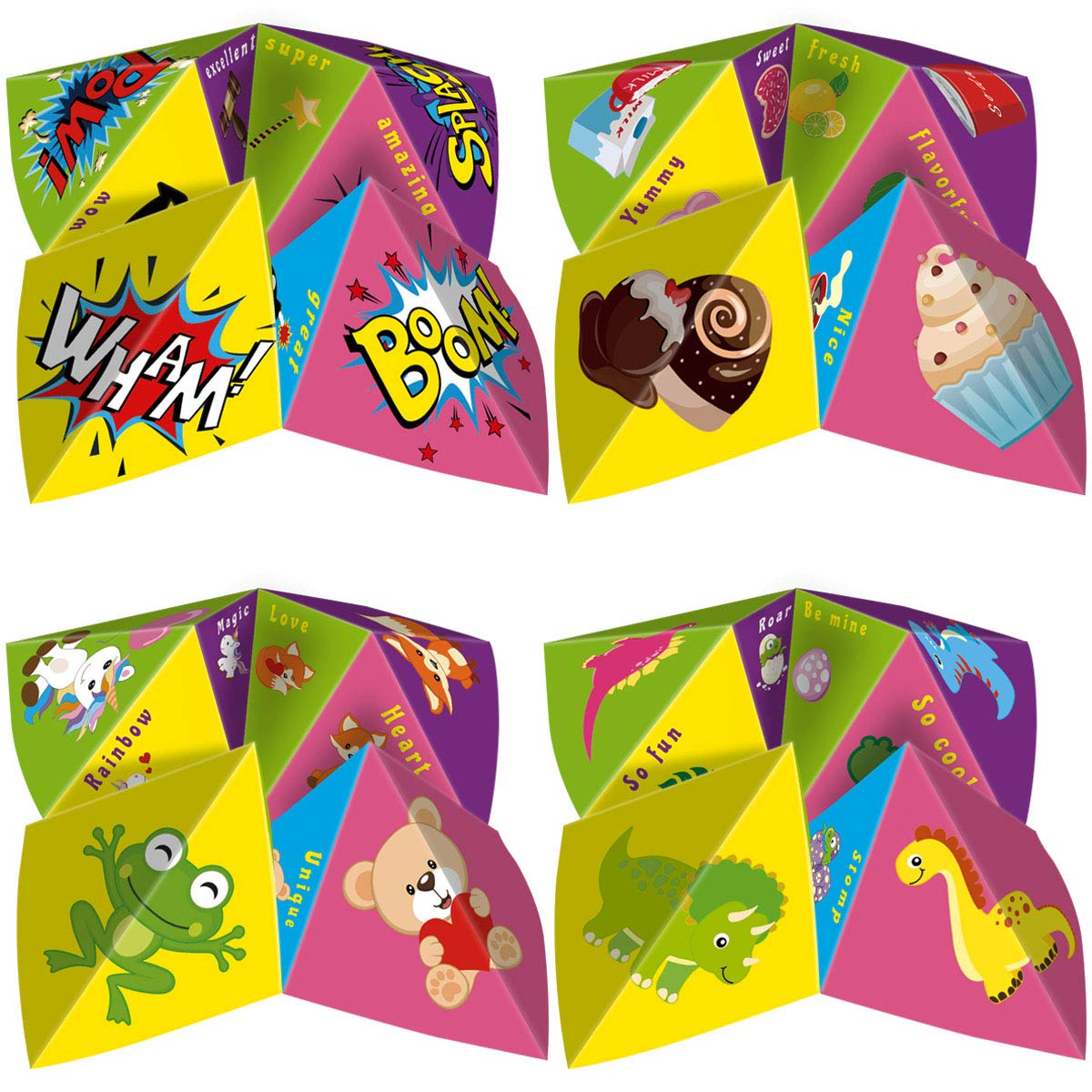 Fancy Land Valentine Cootie Catcher for Kids 28 Valentines Game Cards with Stickers Envelopes