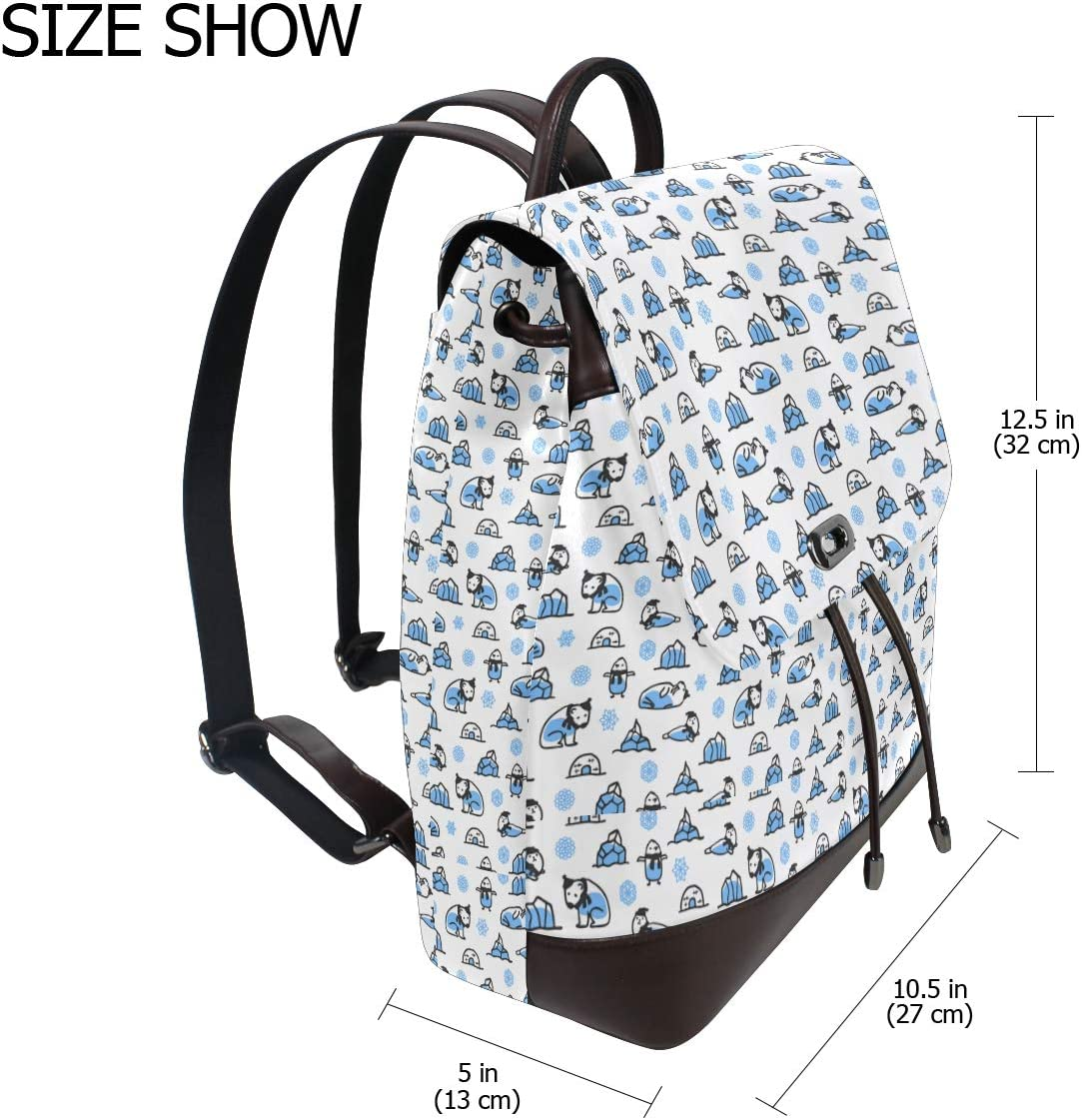 Unisex PU Leather Backpack Winter Polar Bear White Print Womens Casual Daypack Mens Travel Sports Bag Boys College Bookbag