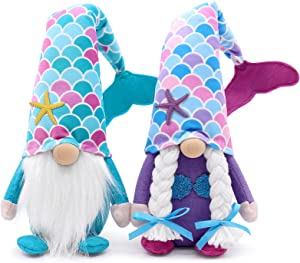 Mermaid Gnome Couple Summer Gnomes Tomte Plush Farmhouse Beach Elf Dwarf Mermaid Tail Nisse Birthday Gifts Handmade Scandinavian Home Ornaments Collections Kitchen Tiered Tray Decorations Set of 2