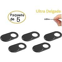 Foretra Cubierta de Privacidad Ultra Delgada de Metal (Paquete de 5) para Camara Web en Laptops| Tabletas | Telefonos | Videojuegos (Negro)