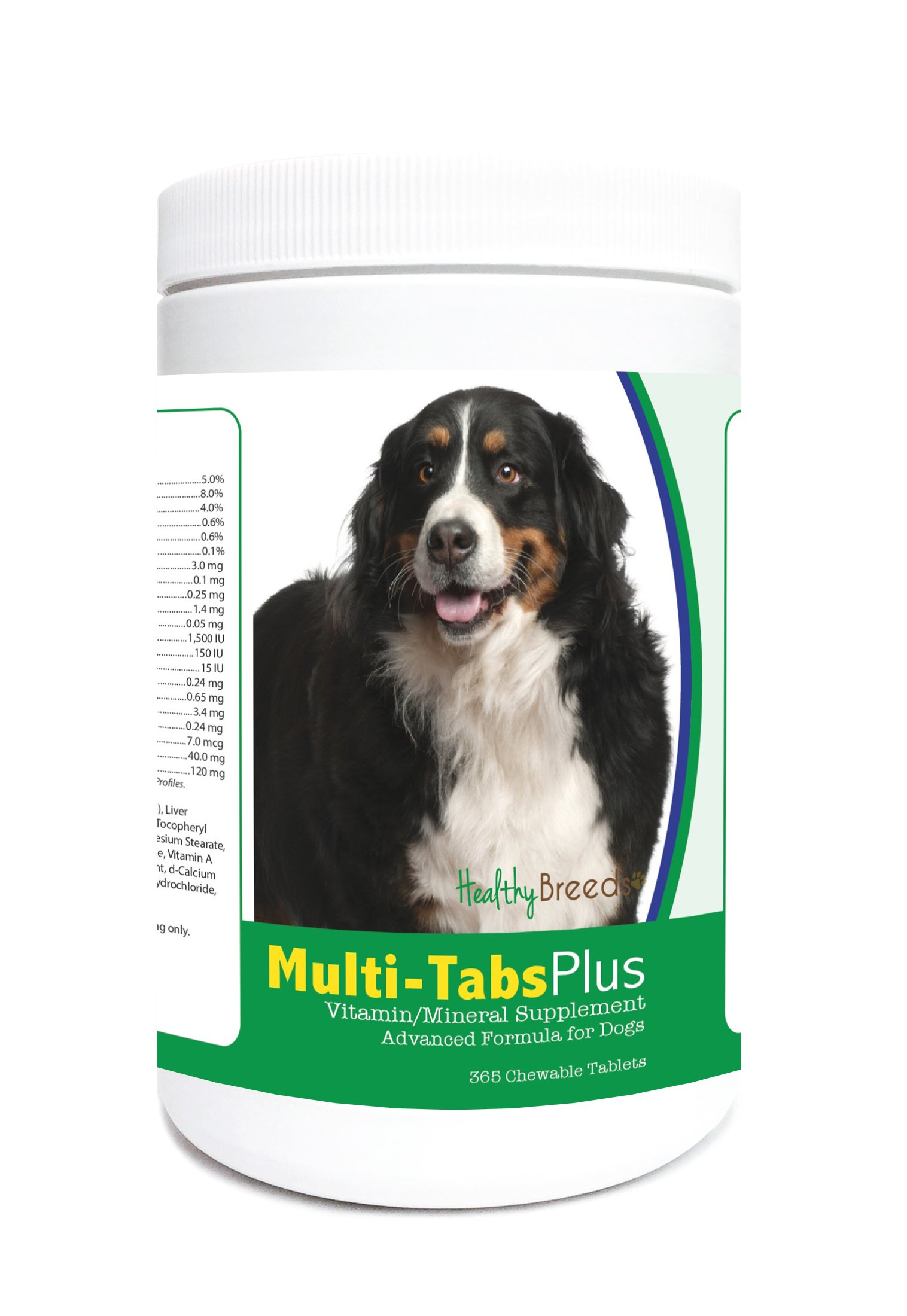 Healthy Breeds Dog Multivitamin and Mineral Supplement Chewable Tabs for Bernese Mountain Dog - Over 80 Breeds - 180, 365 Chews - Formula for Young or Senior Pets - Easier Than Liquid, Powder by Healthy Breeds