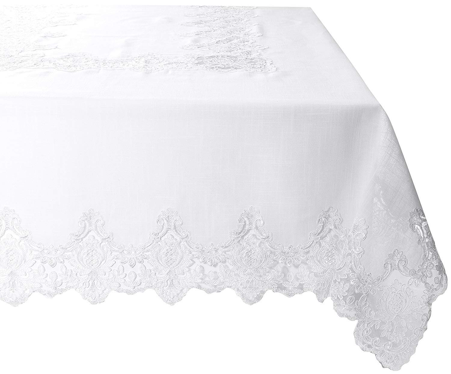 Violet Linen Embroidered Vintage Lace Design Oblong//Rectangle Tablecloth 70 x 140 White IMPERIAL WH-7