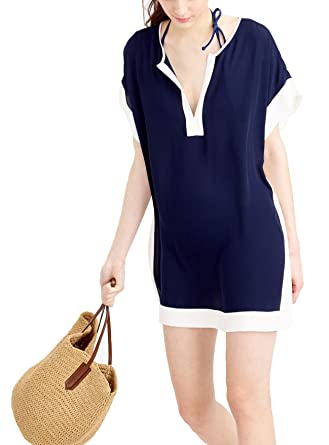 a4a7f66e39a71 KingsCat Colorblock Beach Tunic Swimsuit Cover up Navy  Amazon.co.uk ...
