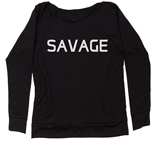 98b6fa37be4 Amazon.com: Expression Tees Savage Off Shoulder Sweatshirt: Clothing