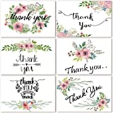 100 Bulk Thank You Cards, Blank Thank You Notes for Wedding, Baby Shower, Bridal Shower, Anniversary, 6 Floral Flower…