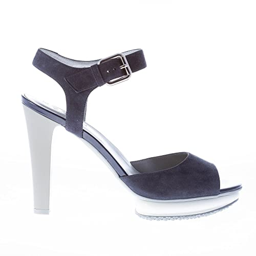 HOGAN scarpe donna women Sandalo camoscio blu cinturino alla caviglia plateau
