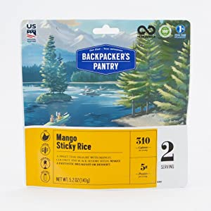 Backpacker's Pantry Mango Sticky Rice, 2 Servings Per Pouch, Freeze Dried Food, 5 Grams of Protein, Vegan, Gluten Free