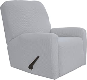 Easy-Going Recliner Stretch Sofa Slipcover Sofa Cover 4-Pieces Furniture Protector Couch Soft with Elastic Bottom Kids,Polyester Spandex Jacquard Fabric Small Checks(Recliner,Silver Gray)
