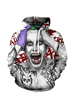 Nimpansa Women Men Matching Hoodies Joker Print Pullover Daily Sweatshirts at Amazon Womens Clothing store: