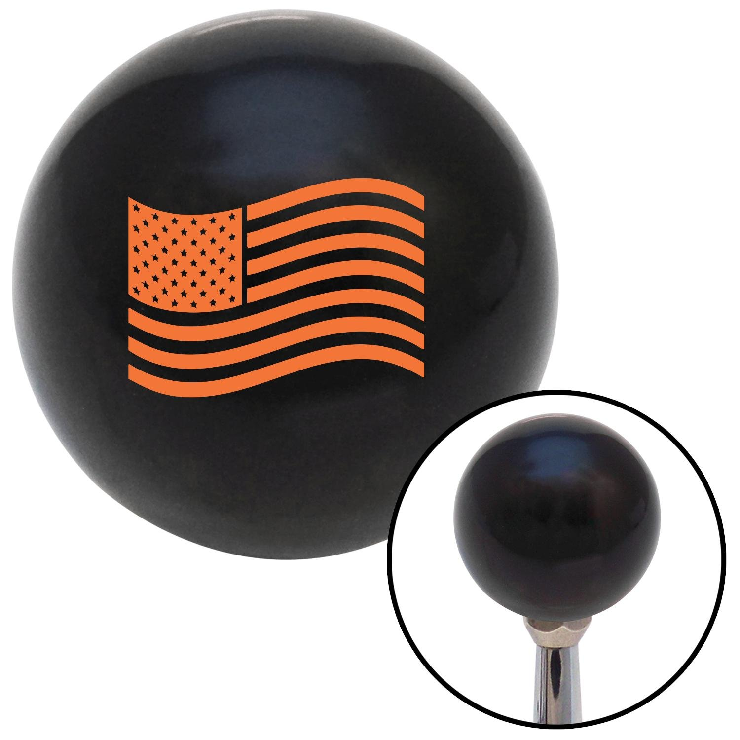 American Shifter 110304 Black Shift Knob with M16 x 1.5 Insert Orange US Flag