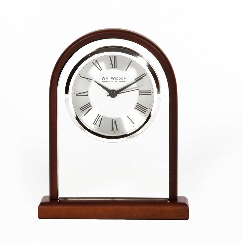 Wm Widdop Traditional Arched Wood & Glass Mantel Clock