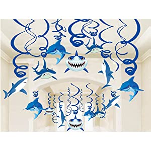 Shark Party Supplies Summer Hanging Swirls - Sea/Sharknado/Kids Birthday Decorations Splash Ceiling Foil Ornaments(30 PCS)