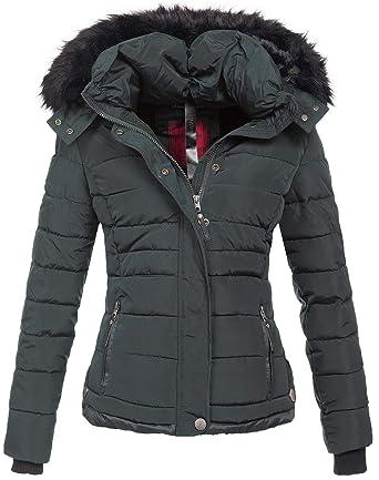 Navahoo warme Damen Winter Jacke Parka Mantel Stepp Kurzjacke gefüttert  B301 (XS, Anthrazit) 1274c66d44