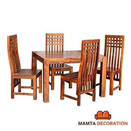 Mamta Decoration Sheesham Wood Wooden Dining Table With 4 Curvy Chairs Home And Living Room Teak Finish Brown