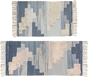 """Tufting Cotton Area Rug and Runner Set,HiiARug Woven Cotton Area Rug Set 2 Piece Washable Throw Rugs for Living Room Bedroom Laundry Room Blue 2'x3'+2'x4'4"""""""
