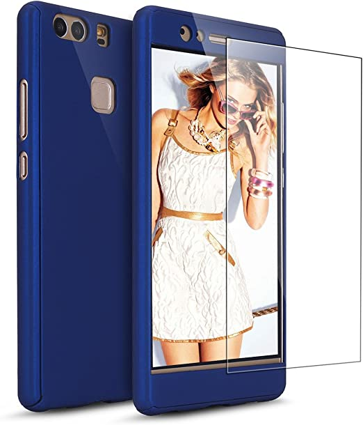 Huawei P9 Plus Case with [Tempered Glass Screen Protector], PHEZEN 360 Full Body Coverage Protective Case Cover Ultra-Thin Hybrid Hard PC Protection ...
