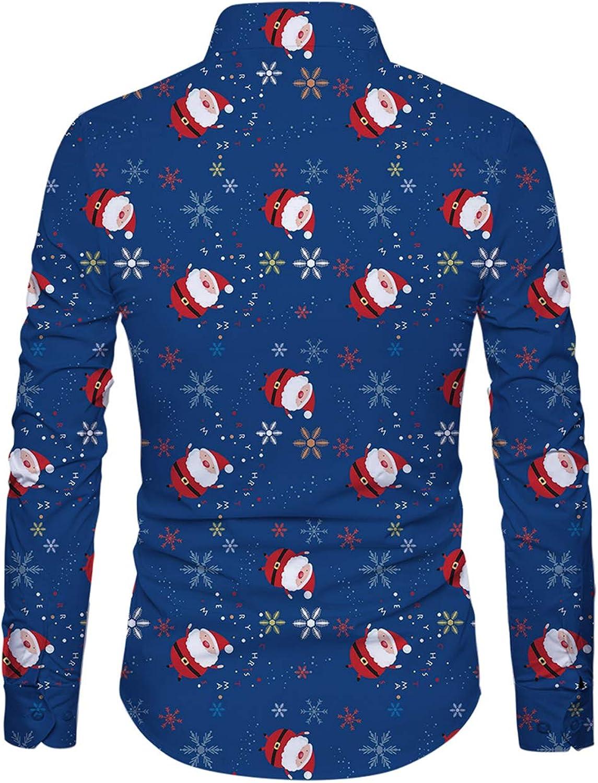 Funnycokid Hombre Navidad Ugly Christmas Camisas Impresión Flamenco Manga Larga con Botón Ropa de Fiesta Hombre Blusas