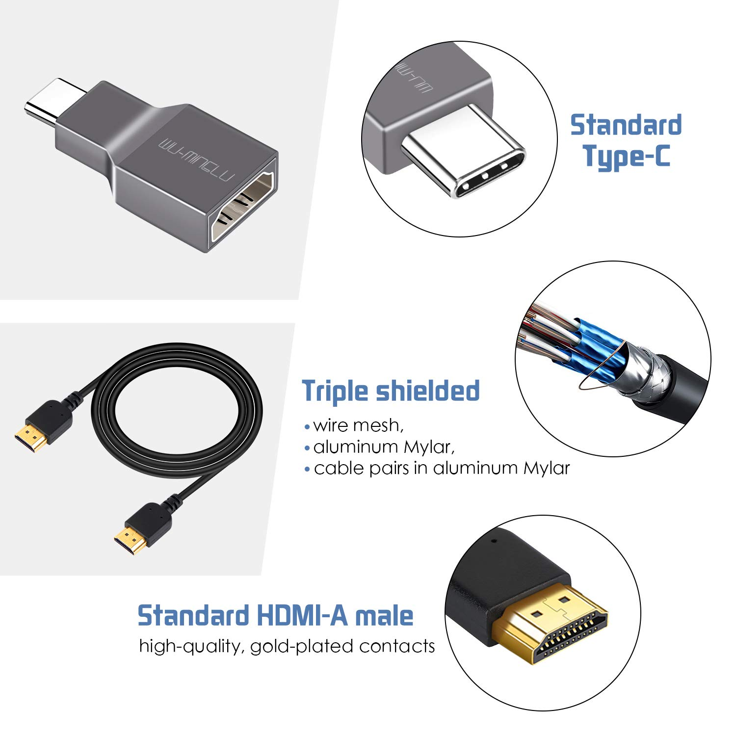 USB C to HDMI Adapter,WU-MINGLU USB 3.1 Type C(Thunderbolt 3) to HDMI 4K Adaptor Converter Include HDMI Cable 1M Compatible with Macbook/Macbook Pro,Samsung S8/9/Note8/9,Huawei Mate 10/P20 and More