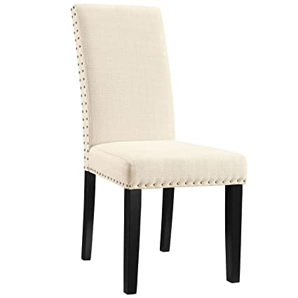 Modway Parcel Modern Upholstered Fabric Parsons Dining Chair With Polished  Nailhead Trim And Wood Legs In