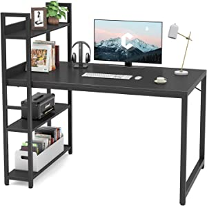Cubicubi Computer Desk 47 inch with Storage Shelves Study Writing Table for Home Office,Modern Simple Style,Black