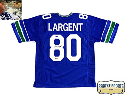 701b7c603 Image Unavailable. Image not available for. Color  Steve Largent  Autographed Signed Seattle Seahawks Throwback Blue Custom Jersey ...
