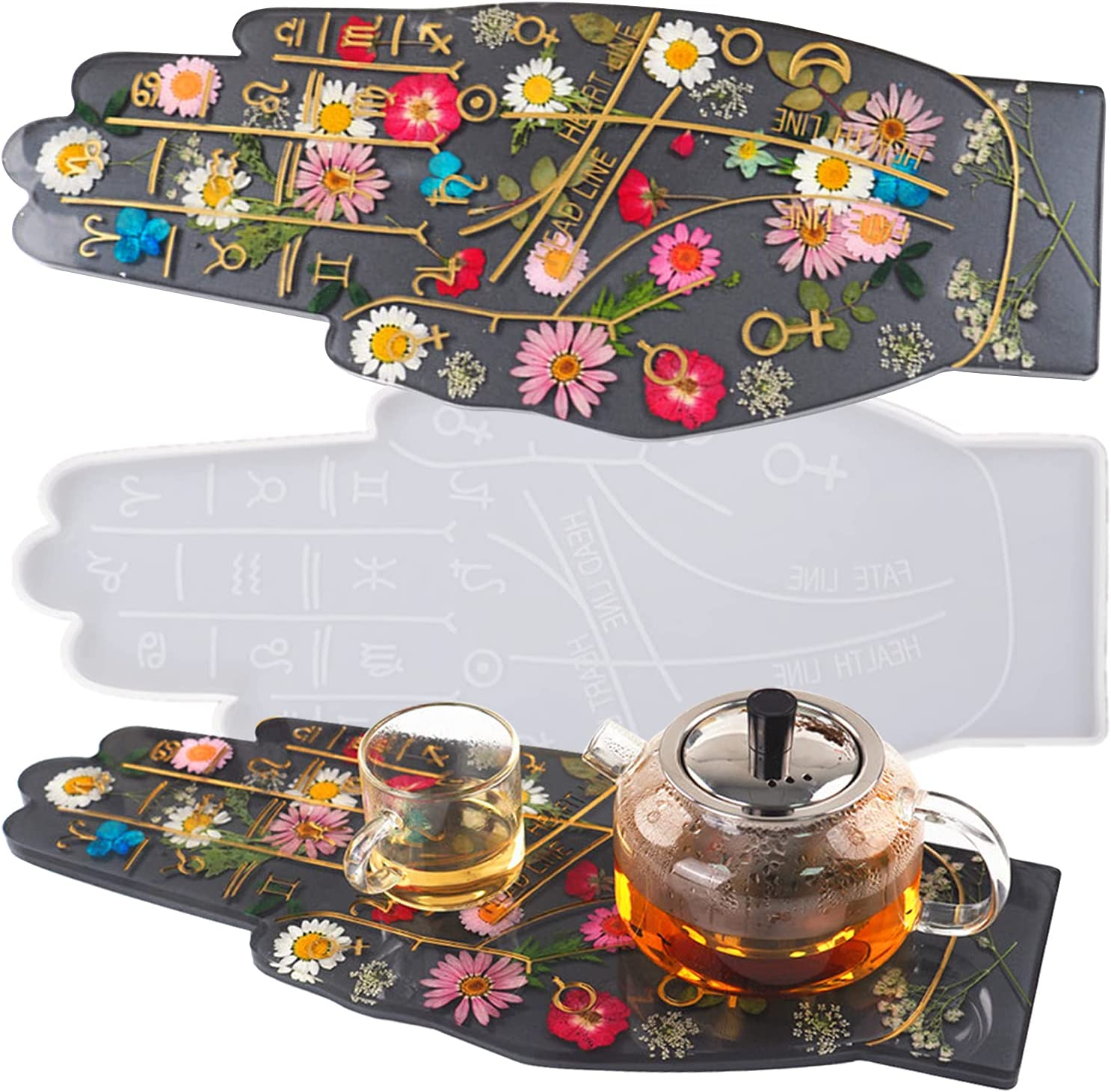 Large Resin Tray Mold Zodiac Hand Shaped Tray Silicone Mold for Resin Casting Irregular Serving Board Constellation Jewelry Dish Trinket Plate Resin Craft Mold Kit Home Decoration