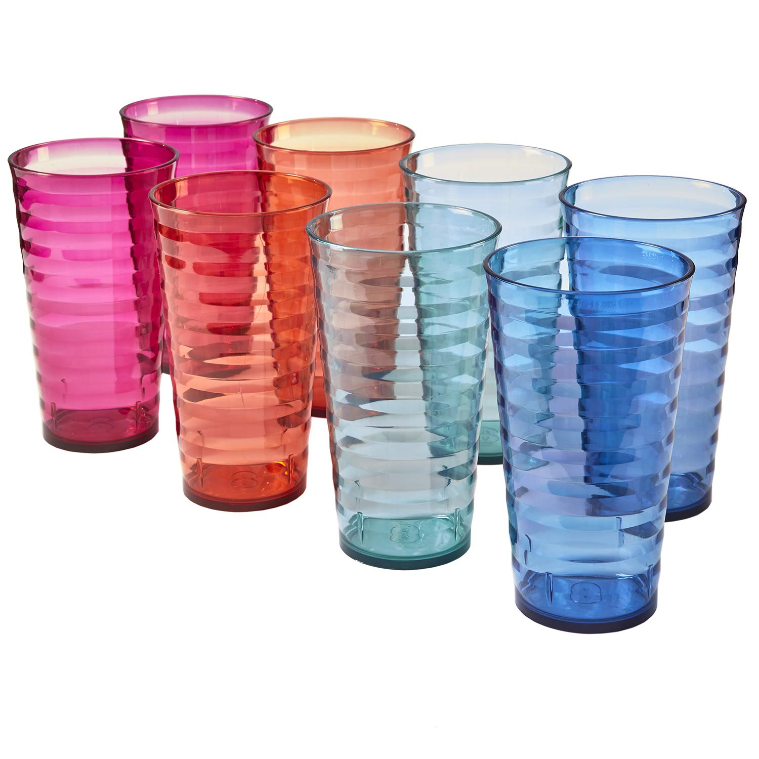 Splash 18-ounce Plastic Tumblers | set of 8 in 4 Assorted Colors
