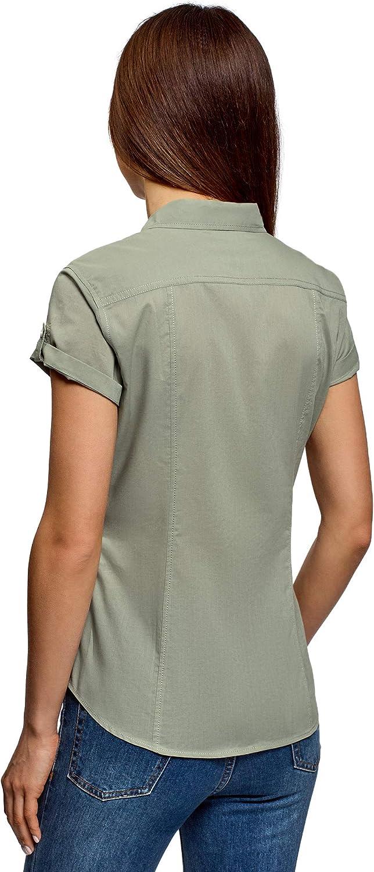 oodji Ultra Femme Chemise en Coton avec Poches de Poitrine