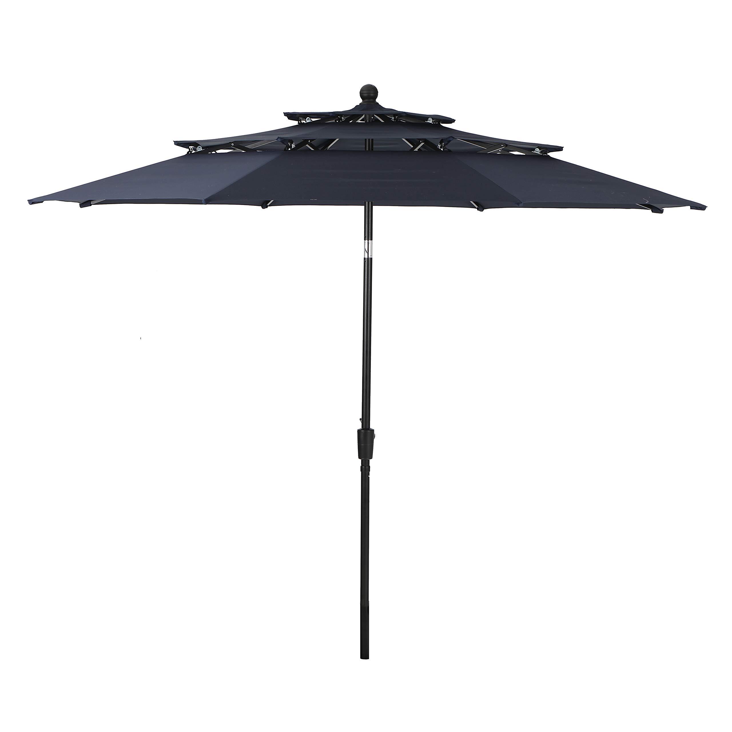 PHI VILLA 10ft 3 Tier Auto-tilt Patio Umbrella Outdoor Double Vented Umbrella, Navy