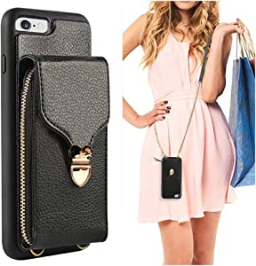 iPhone 6 Wallet Case, JLFCH iPhone 6S Crossbody Leather Zipper Wallet Case with Card Slot Holder Lanyard Buckle Closure Detachable Wrist Strap Chain for Apple iPhone 6/6S 4.7 inch - Black