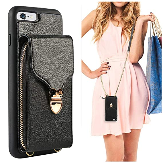 new arrival 2315e bd9cf iPhone 6 Plus Wallet Case, JLFCH iPhone 6S Plus Leather Zipper Purse Buckle  with Detachable Wrist Strap Crossbody Chain Card Slot Holder Case for ...
