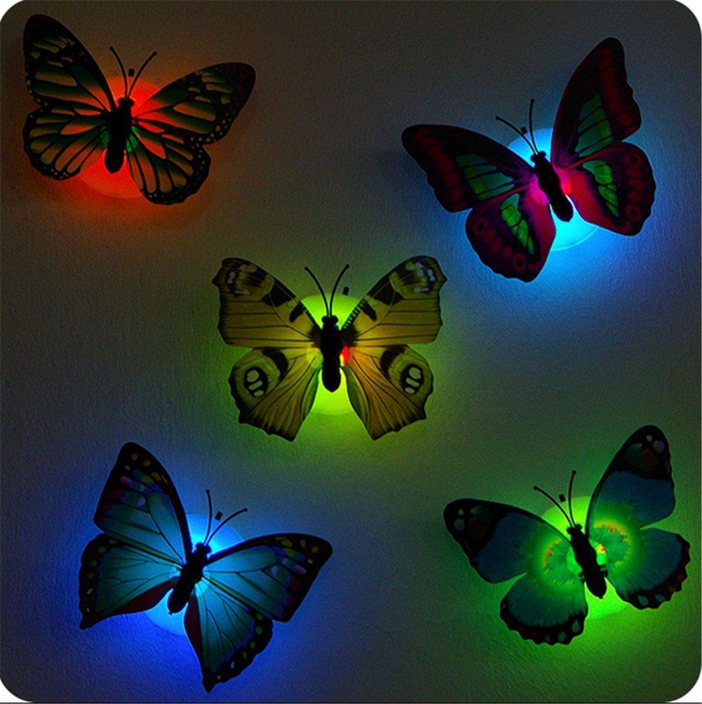 4 Pcs Cute Beautiful Kreative Bunt Schmetterling LED Nachtlicht Mit Saugnapf Wandleuchten Romantische Mehrfarbigen Kleine