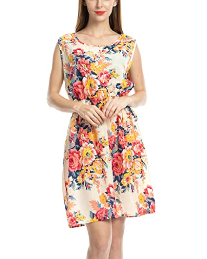c8b2a599085e7 LY Dress Womens Floral Print Summer Dress Casual Sleeveless Chiffon Short  Mini Dress
