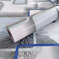 WOW Interiors Blue and White Square Peel and Stick Self Adhesive Wallpaper Easily Removable - Bedroom Living Room Corridor Background Eco Wallpaper (200 X 45 cm)