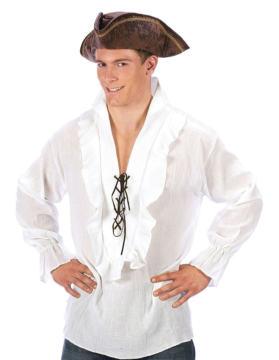 Fun World Adult Black Pirate Costume Shirt - Adult Std. One Size 5410-BLK