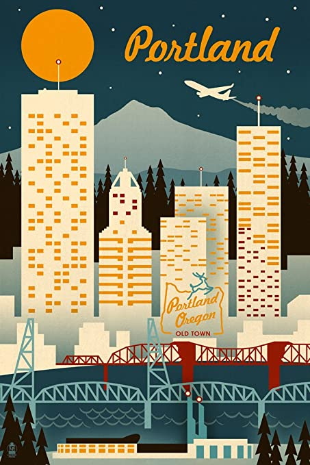 Amazon.com: Portland, Oregon - Retro Skyline (9x12 Art Print, Wall ...