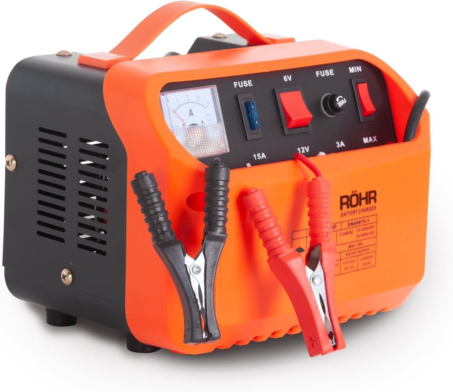 Röhr DFC-10P - Cargador Batería de Coche con 2 Modos Turbo y Lento - Tecnología reparación y Mantenimiento - 10 A - 6 V/12 V