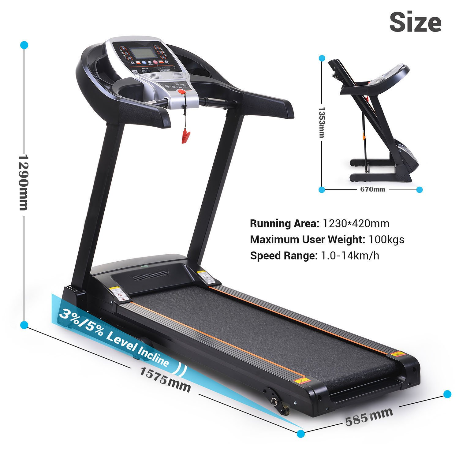 Miageek Fitness Folding Electric Jogging Treadmill with Smartphone APP Control, Walking Running Exercise Machine Incline Trainer Equipment Easy Assembly (2.25 HP - Black) by Miageek (Image #2)