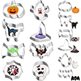 VHAUSE 14PCS Halloween Cookie Cutters Stainless Steel - 8 Large and 6 Small Non-Stick Biscuit Molds for Baking - Pumpkin…
