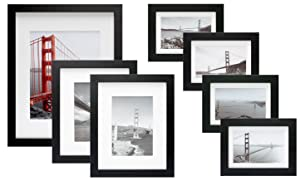 Frametory, 7 Piece Gallery Wall Set with Golden Gate Bridge in San Francisco As The Famous Landmark Wall Art Decor Giclee Photo Print in Black Frame - Off White Matte - Real Glass - Ready to Hang