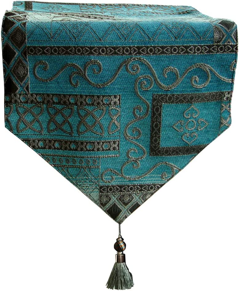 Ibnotuiy シェニール織 マルチサイズ テーブルランナー 地中海ブルー テーブル装飾 タッセル付き 59.06x12.6 inch