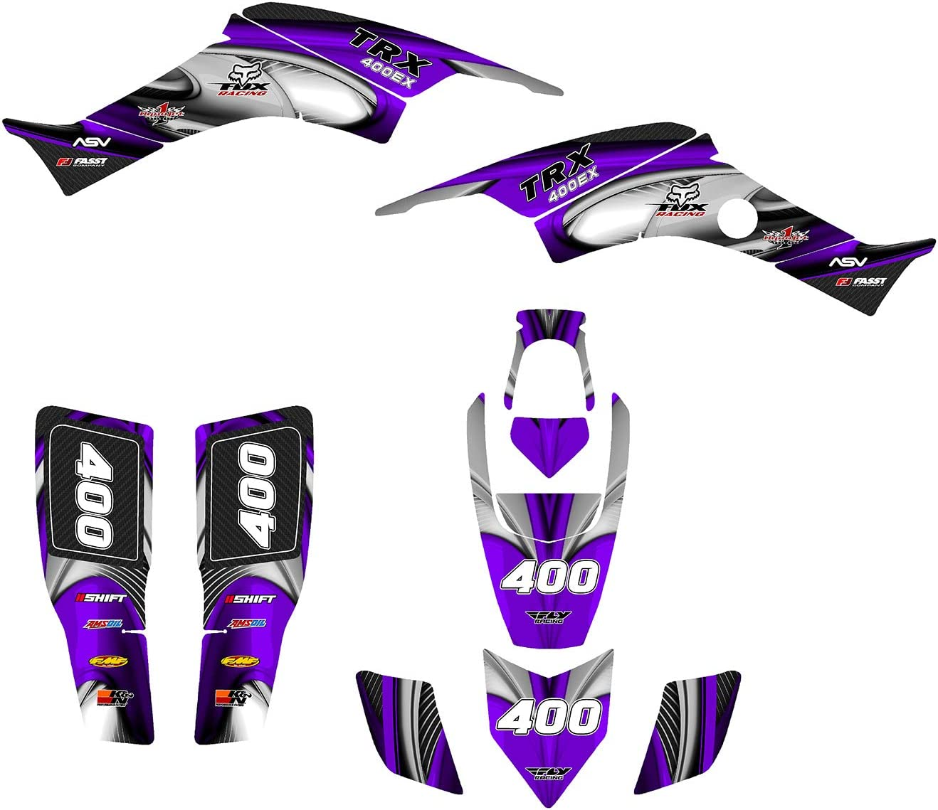 Blue TRX 400 EX graphics wrap kit by AMG fit 1999-2007 design #3737