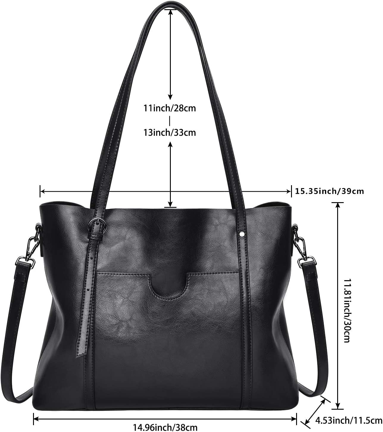 S-ZONE Damen Vintage 3-Way Echtes Leder Tote Schultertasche Handtasche Mode Handtasche Messenger Bag Schwarz