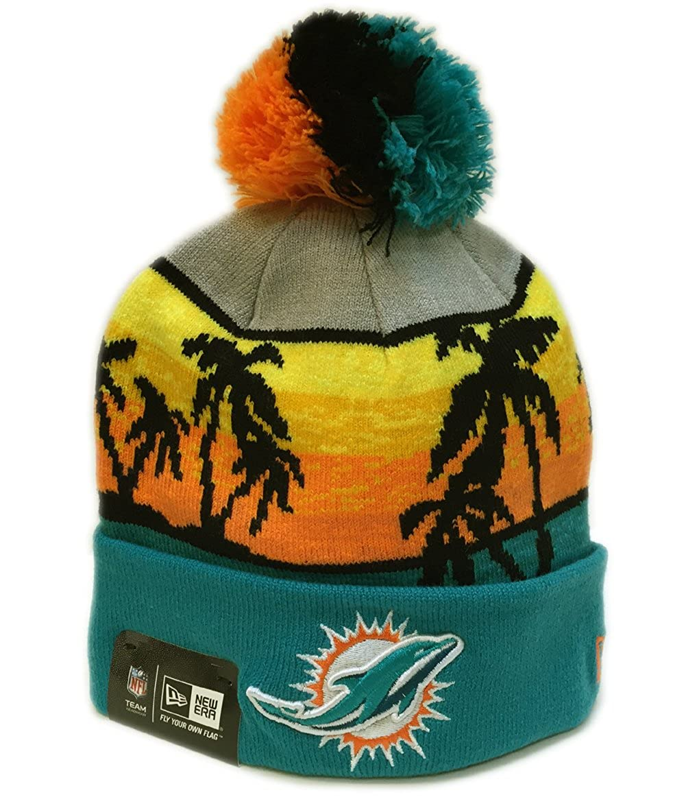fe74fd7d60800 Amazon.com  New Era Men s Winter Beachin Miami Dolphins Turquoise Aqua Hat  One Size Fits All  Clothing