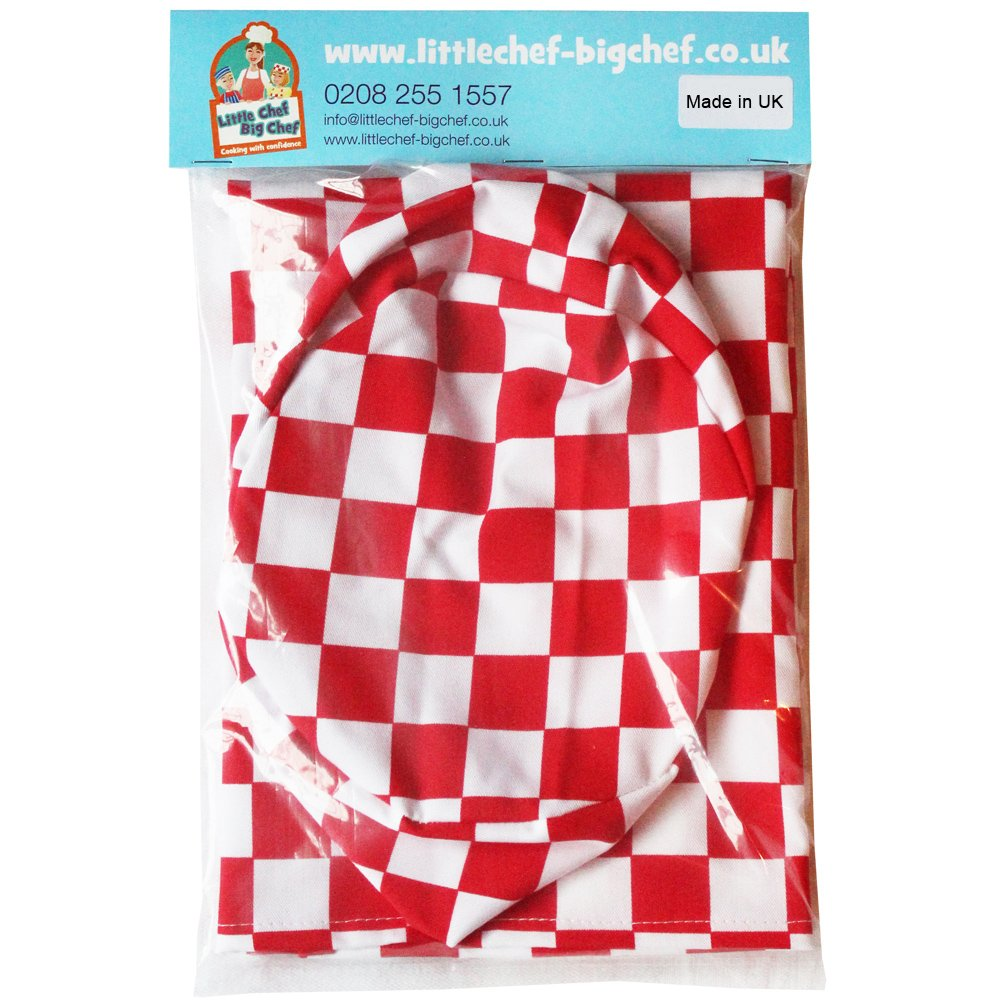 Childrens Kitchen Cooking Fun Chefs Apron and Skull Cap Sets Various Designs (8-10 years 64cm x 48cm Red Check) little chef big chef