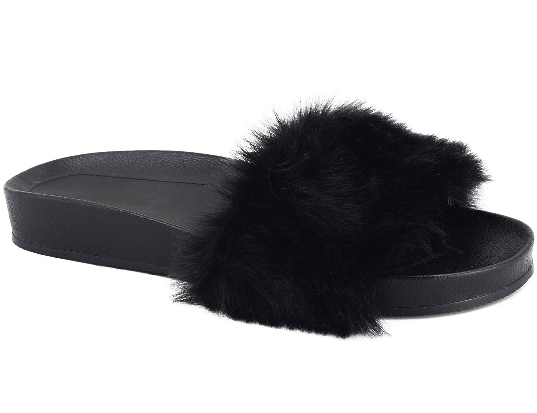 MaxMuxun Damen Pantoletten Synthetische Pelz Flip Flops Thong Sandalen  36 EU Schwarz
