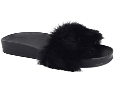MaxMuxun Women Shoes Faux Fur Flat Sandals Indoor Outdoor Fuzzy Slippers  Black