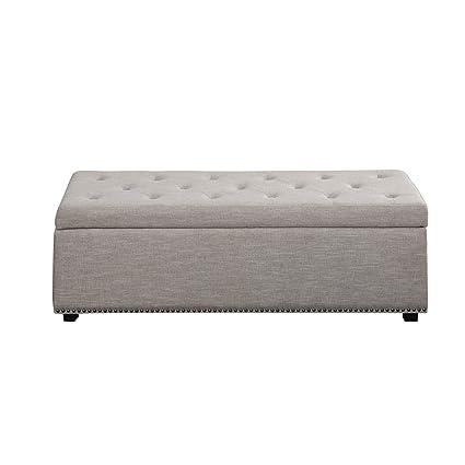 Genial Large Storage Ottoman Bench, Durable Tufted Diamond Design, Internal Storage,  Easy Lift Top